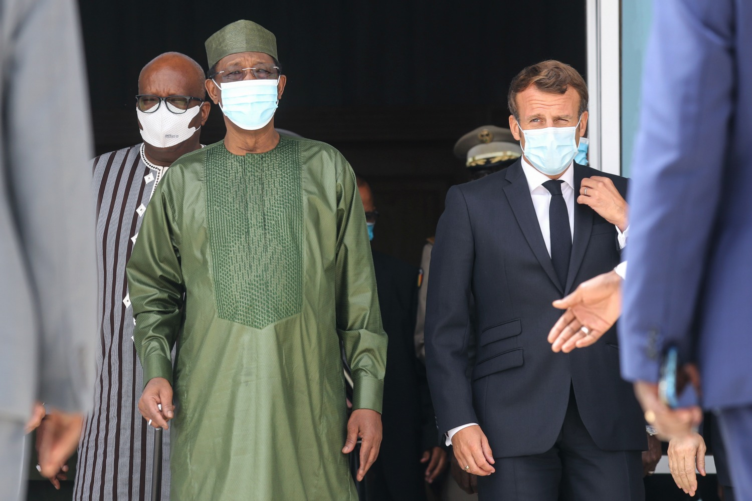 Chad President Idriss Deby and French President Emmanuel Macron.