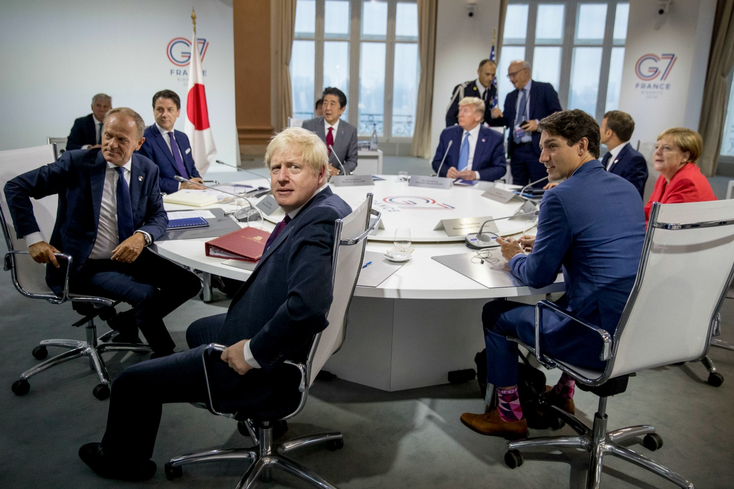 Boris Johnson with other world leaders at the G-7 summit in Biarritz, France.