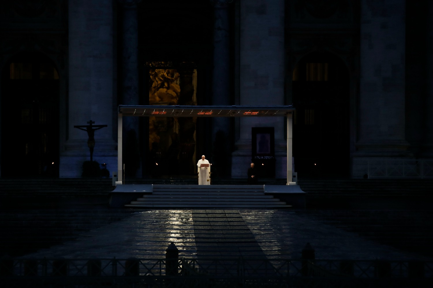 Pope Francis delivers a prayer in an empty St. Peter's Square.
